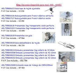 ELNA OPCIONES DISPONIBLES PARA MOD. 444-444EC